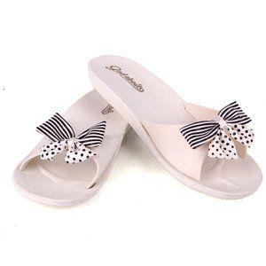 Gad-abouts Slide Sandal Polka Dot/ Stripe Bows 7
